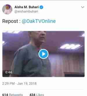 Aisha Buhari Also Reposts Video Of Senator Ben Bruce Criticising FG. See Reactions